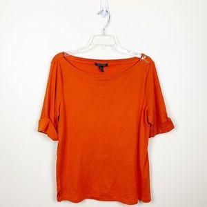 EUC - Ralph Lauren - Orange Boatneck Tee - XL